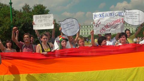 The gay parade and rally sexual minorities Stock Video Footage