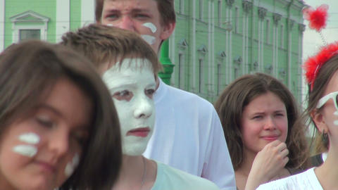 White makeup on his face Stock Video Footage