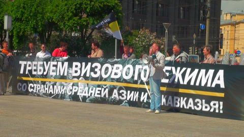 Rally for visa regime in Russia Stock Video Footage