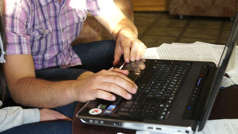 Men's hands on the keyboard Stock Video Footage