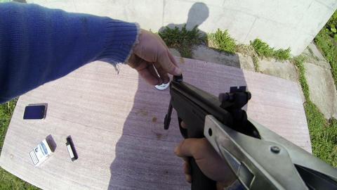 Shot from a pneumatic gun Stock Video Footage