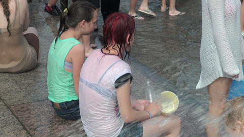 Girl friend in wet t-shirts Stock Video Footage