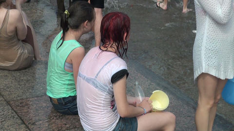 Girl friend in wet t-shirts Footage