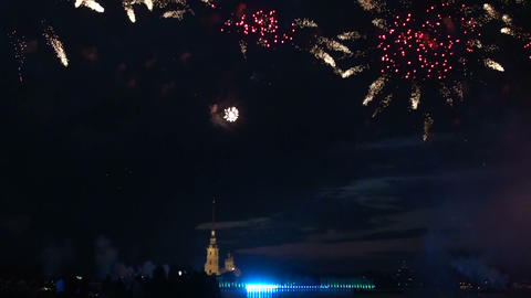Salute against the Peter and Paul fortress Footage