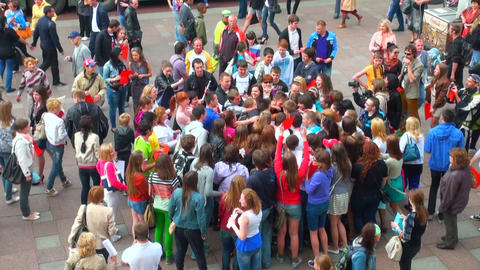 A crowd of young people Stock Video Footage