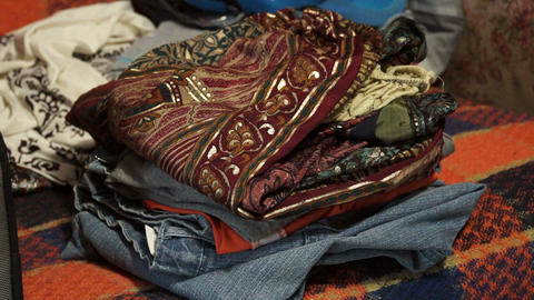 Folded clothes Stock Video Footage