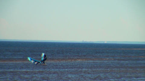 windsurfer is on the Bay Stock Video Footage