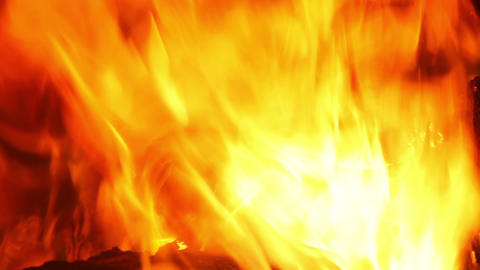 fire burning in fireplace, natural abstract backgr Stock Video Footage