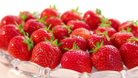 ripe organic strawberries - dolly shot Stock Video Footage
