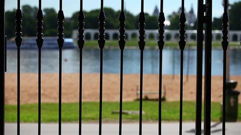 promenade along waterfron Stock Video Footage