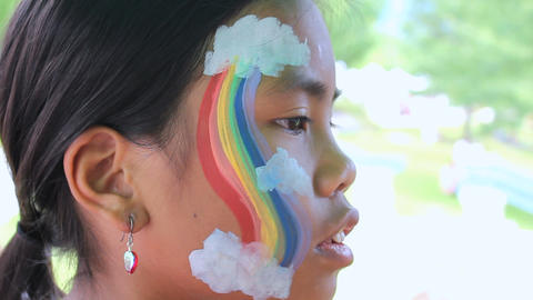 Colorful Rainbow Face Painting Stock Video Footage
