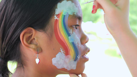Colorful Rainbow Face Painting Footage