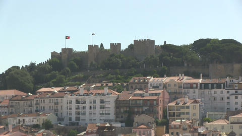 Castle Sao Jorge Stock Video Footage