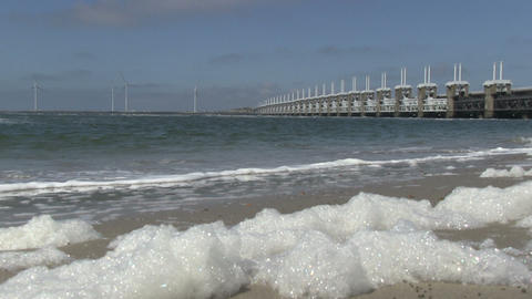 Storm surge barrier Oosterschelde Stock Video Footage