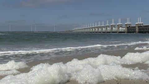 Storm surge barrier Oosterschelde Stock Video Footage