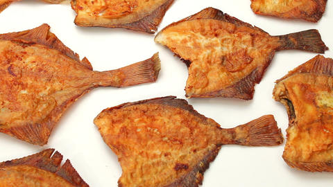 flounder fish fried on frying pan Stock Video Footage