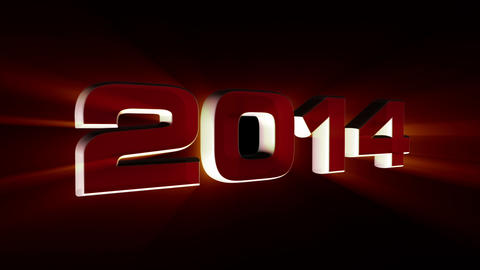 2014 happy new year, 3d red animation Stock Video Footage