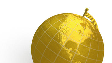 Gold globe spins, stops at North America Stock Video Footage