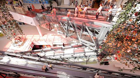 escalator in shopping center Footage