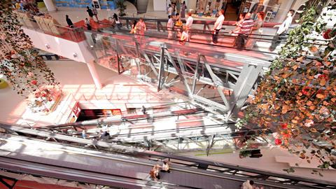 escalator in shopping center Stock Video Footage
