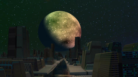 The city of aliens, planet and flickering UFO Animation
