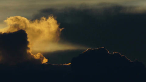 Sunset with Moody Clouds Stock Video Footage