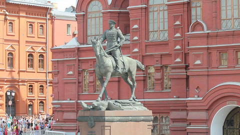 Marshal Zhukov Monument Stock Video Footage