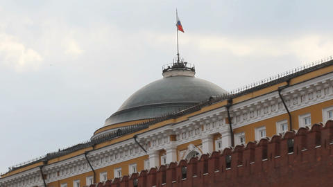 Russian Federation Flag Over Kremlin Footage