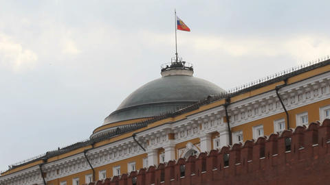 Russian Federation Flag Over Kremlin Stock Video Footage