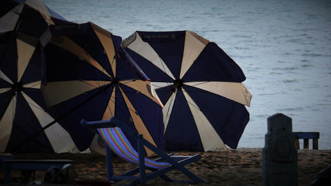 Beach Umbrellas with FX Stock Video Footage