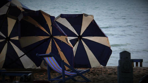 Beach Umbrellas With FX stock footage