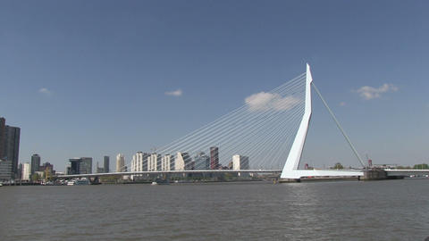 Erasmusbrug, Rotterdam, The Netherlands Stock Video Footage