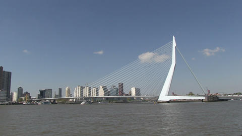 Erasmusbrug, Rotterdam, The Netherlands Stock Video Footage