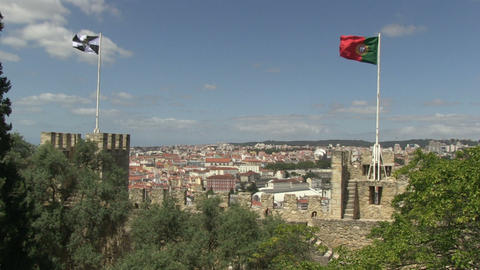 Lisbon and Portugal flags Stock Video Footage
