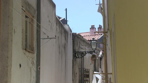 Laundry in alley Stock Video Footage