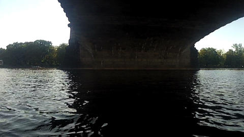 Pedalo view under the Legion Bridge Stock Video Footage