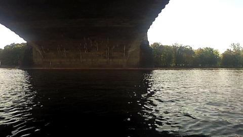 Pedalo view under the Legion Bridge Stock Video Footage