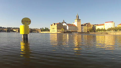 Pan Pedalo view of Vltava river Footage