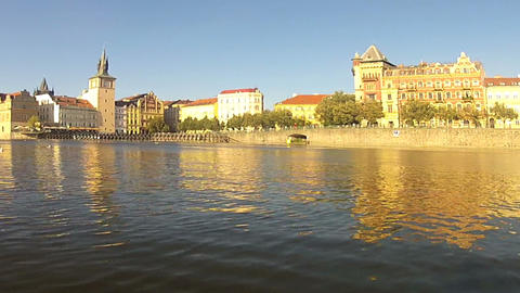 Pan Pedalo view of Vltava river Stock Video Footage