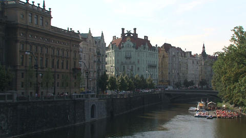 Pan Downtown Prague Stock Video Footage