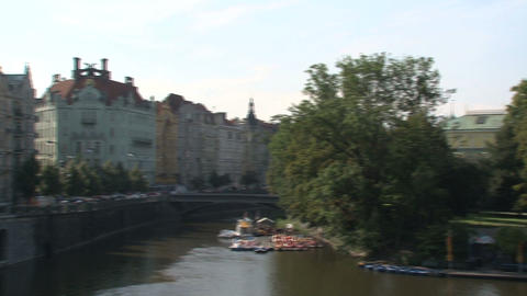 Pan Downtown Prague Stock Video Footage