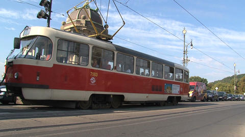 Tram near Legion Bridge Stock Video Footage