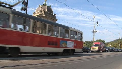 Tram near Legion Bridge Stock Video Footage