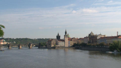 Charles Bridge zoom-out Stock Video Footage