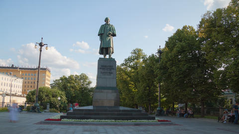 Writer Gogol Monument hyperlapse 4K Stock Video Footage