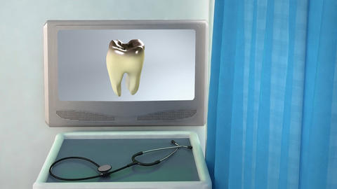 Bad Tooth Medical Screen Closeup stock footage