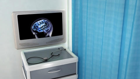 blue brain zoom into cell medical screen Stock Video Footage
