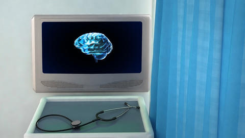 brain rotate medical screen closeup Stock Video Footage