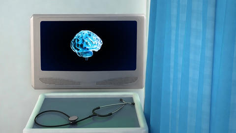 brain rotate medical screen closeup Animation