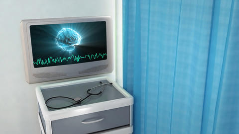 brain with wave medical screen Stock Video Footage